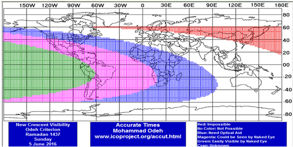 Visibilité du croissant lunaire de Ramadan 1437H- Juin 2016